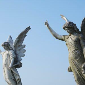 Angel sculptures.