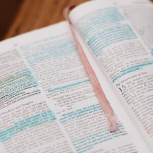 An image of an open Bible with highlighted and underlined portions.