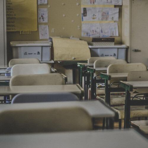 Desks in a classroom.