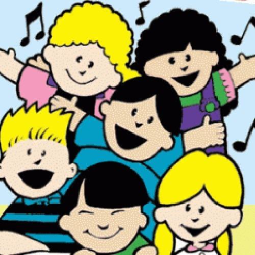 Imagen ilustrada de niños cantando.