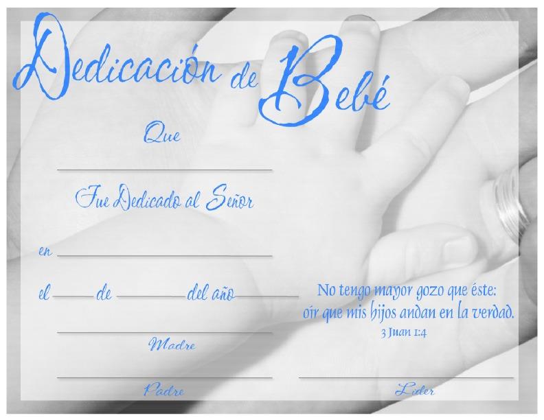 ee4e0362d Certificado para dedicación de bebés