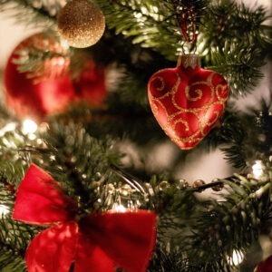 Ramas de un árbol de pino con adornos navideños color rojo.
