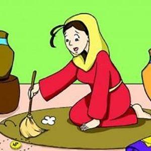 Imagen animada de mujer en busca de una moneda.