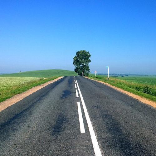 Imagen de una carretera vacía con un árbol y un cielo azul que significa predestinación