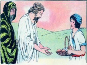 El nino da su lonche a Jesus