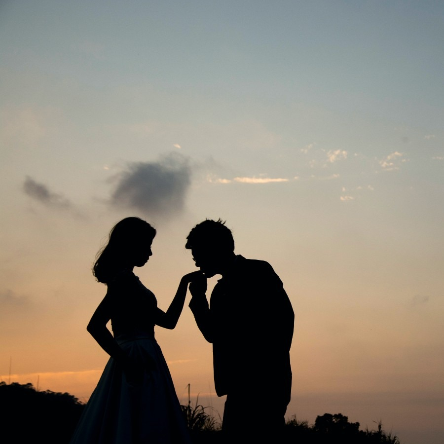 A silhouette of a man kissing a woman on the hand.