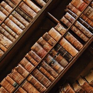 Libros antiguos en un estante