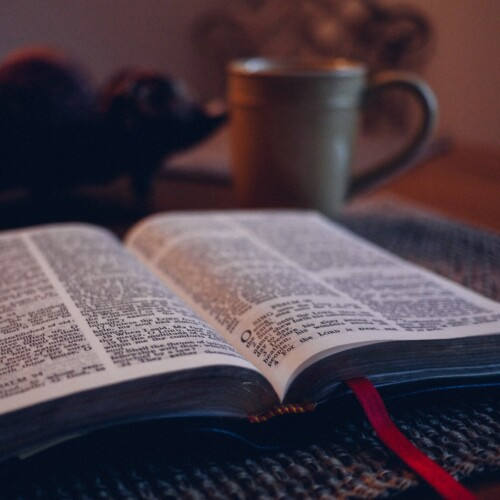open Bible with coffee mug and a bowl of fruit