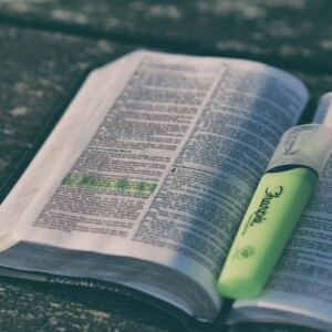 open Bible with a highlighted verse and green highlighter