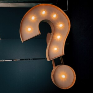 a lit up question mark