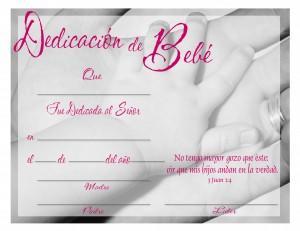 Certificado para dedicación de bebés