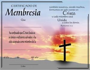Certificado de membresía de la iglesia