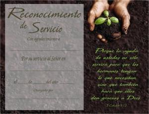 Certificado para reconocimiento de servicio