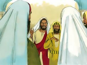 Jesus sana el hombre de la mano seca